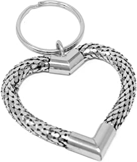 Vintage Silver Large Heart Metal Mesh Jewelry Keychain