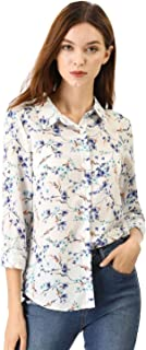 Allegra K Women's Point Collar Button Down Floral Shirt