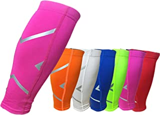 GSXT Calf Compression Sleeves for Men & Women - Leg and Shin Compression Sleeves for Runners, Cyclist - Shin Splint, Blood Circulation and Recovery Aid (1 Pair) (X-Large, Pink)