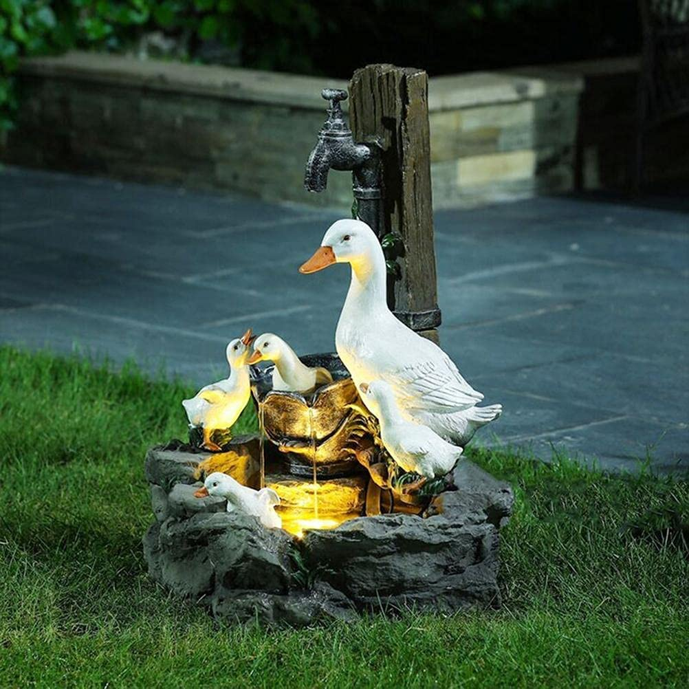 Duck Water Fountain Max 70% OFF with LED Lights Minneapolis Mall for Outdoor -