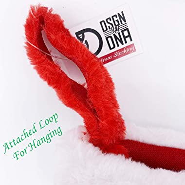 Dsgn By Dna Red & White Plush Christmas Stocking Xmas Holiday Hanging Decoration Stocking Extra Soft 16 inches (1, 16 inc