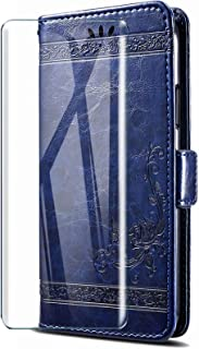 HYMY Leather fodral för Wiko View 3 Lite + skärmskydd - Blue Retro Embossing TPU Silikon + PU Protection fodral Fashion Sk...