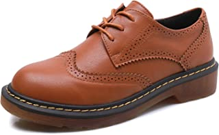 Smilun Lady¡¯s Full Brogue Derby Western Low Heel Shoes Classic Flats Round Toe