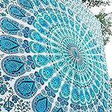 RAJRANG BRINGING RAJASTHAN TO YOU Tapiz Grande Mandala Pared - Tapices Indio Pavo Real Mandala Hippie Wall Hanging Tapestry Beach Throw Toalla de Playa - Azul - 228 x 213 cm