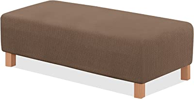 TAOCOCO Ottoman Cover Rectangle Storage Ottoman Slipcover Stretch Foot Rest Stool Covers Furniture Protectors Spandex Jacquard Fabric with with Elastic Bottom Coffee