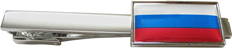 Kiola Designs Thin Bordered Russia Flag Pendant Square Tie Clip