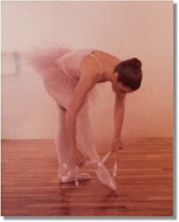 Ballerina Girl in Pink Tutu Lacing Shoes Ballet Wall Picture 8x10 Art Print