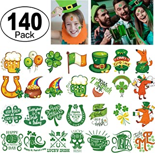 St. Patrick's Day Tattoos 140pcs Temporary Shamrock Tattoos 28 Designs for St. Paddy's day Parade Party Favors Decorations