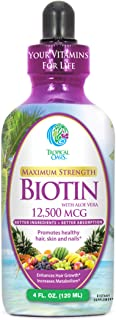 Maximum Strength Liquid Biotin Drops w/ 12,500 MCG- Best Vitamins for Fast Hair Growth, Reduced Hair Loss, Healthy Skin & ...