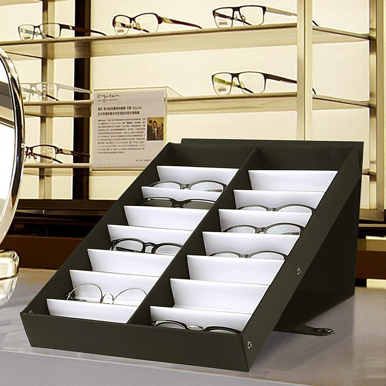 amzdeal Caja para Gafas de Sol con 18 Estuches para Organizar y Guardar Las Gafas, Joyas y Reflejos: Amazon.es: Juguetes y juegos