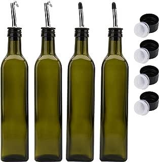 Kingrol 4-Pack 17 Oz. Glass Olive Oil Dispenser Bottles, Dark Green Oil & Vinegar Cruets with Stainless Steel Pourer Spouts