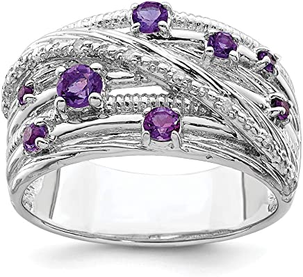 925 Sterling Silver Purple Amethyst Diamond Band Ring Size 7.00 Gemstone Fine Jewelry Gifts For Women For Her