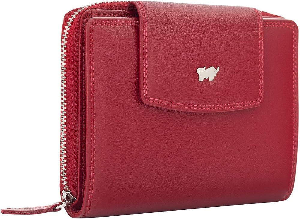 Braun bÜffel portafoglio porta carte di credito per donna in vera pelle rosso