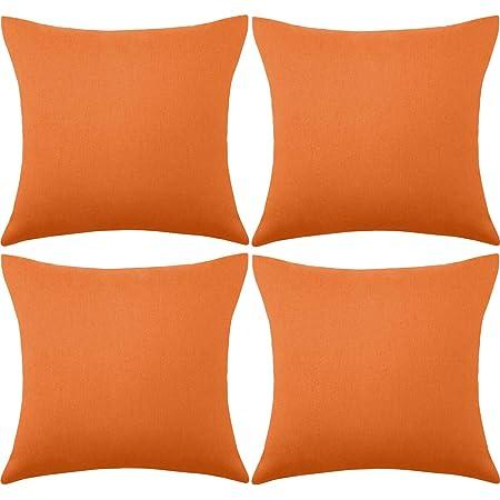 4 Paquets Housses de Coussin Imperméables Décoratif Extérieur Terrasse Balcon, Housse de Coussin Jardin Carré, Coque d'oreiller de Revêtement PU pour Canapé, Lit, Patio, 18 x 18 Pouces (Orange)