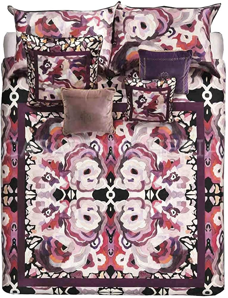 Roberto cavalli, trapunta matrimoniale caleidoflora in  velluto-rosa e cotone 18119103