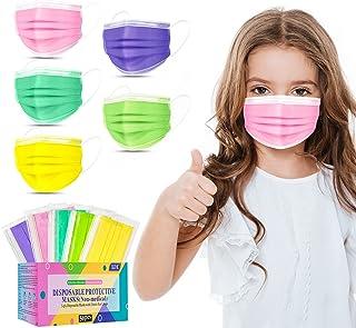 """Kids Face Mask یکبار مصرف -50 بسته ماسک رنگارنگ برای پسران و دختران-نرم روی پوست ، 3 لایه - اندازه کودکان 5.4 """"x 3.6"""" - برای مراقبت از کودکان ، مدرسه ، استفاده روزانه"""