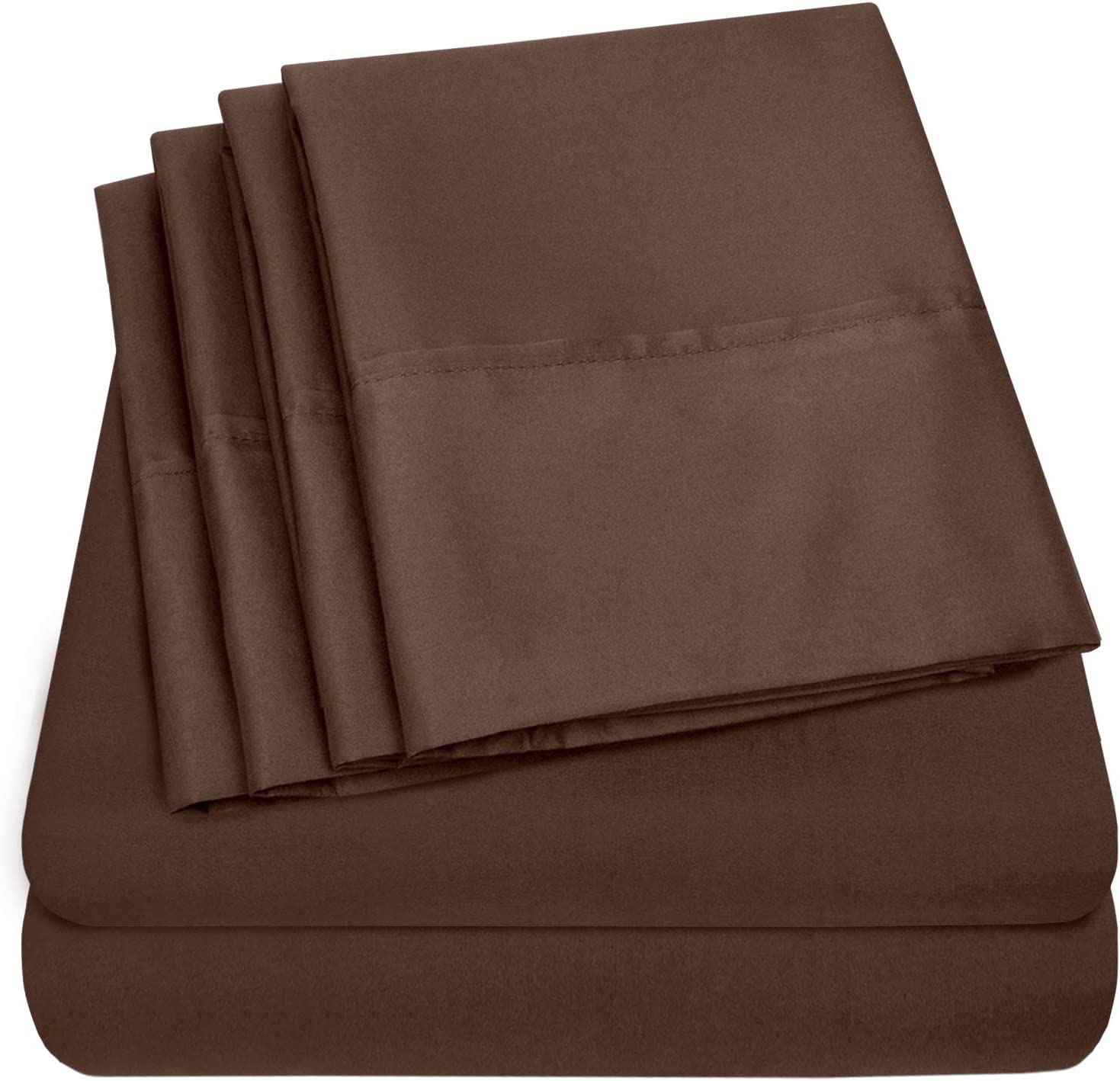 Sweet Home Collection 6 Piece Bed Sheets 1500 Thread Count Fine Microfiber Deep Pocket Brown Bed Sheet