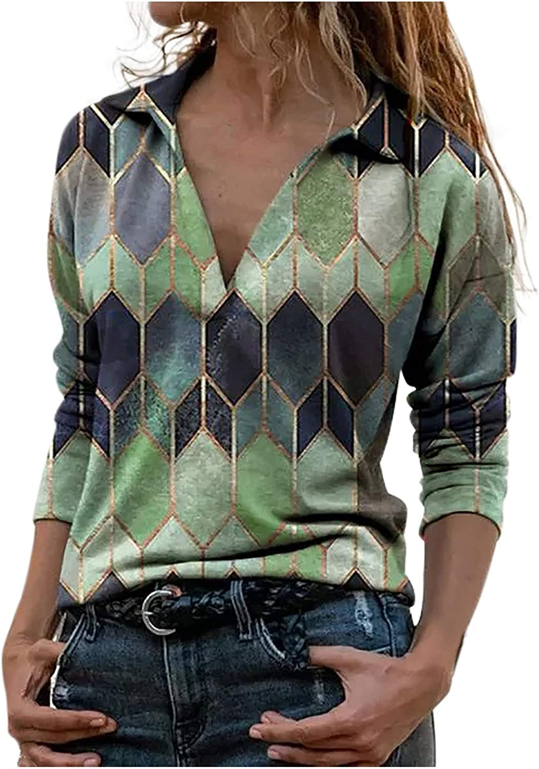 Summer Tops for Women Dressy,Womens V-Neck Long Sleeve Casual Geometric Printed T-Shirts Pullover Henley Shirts