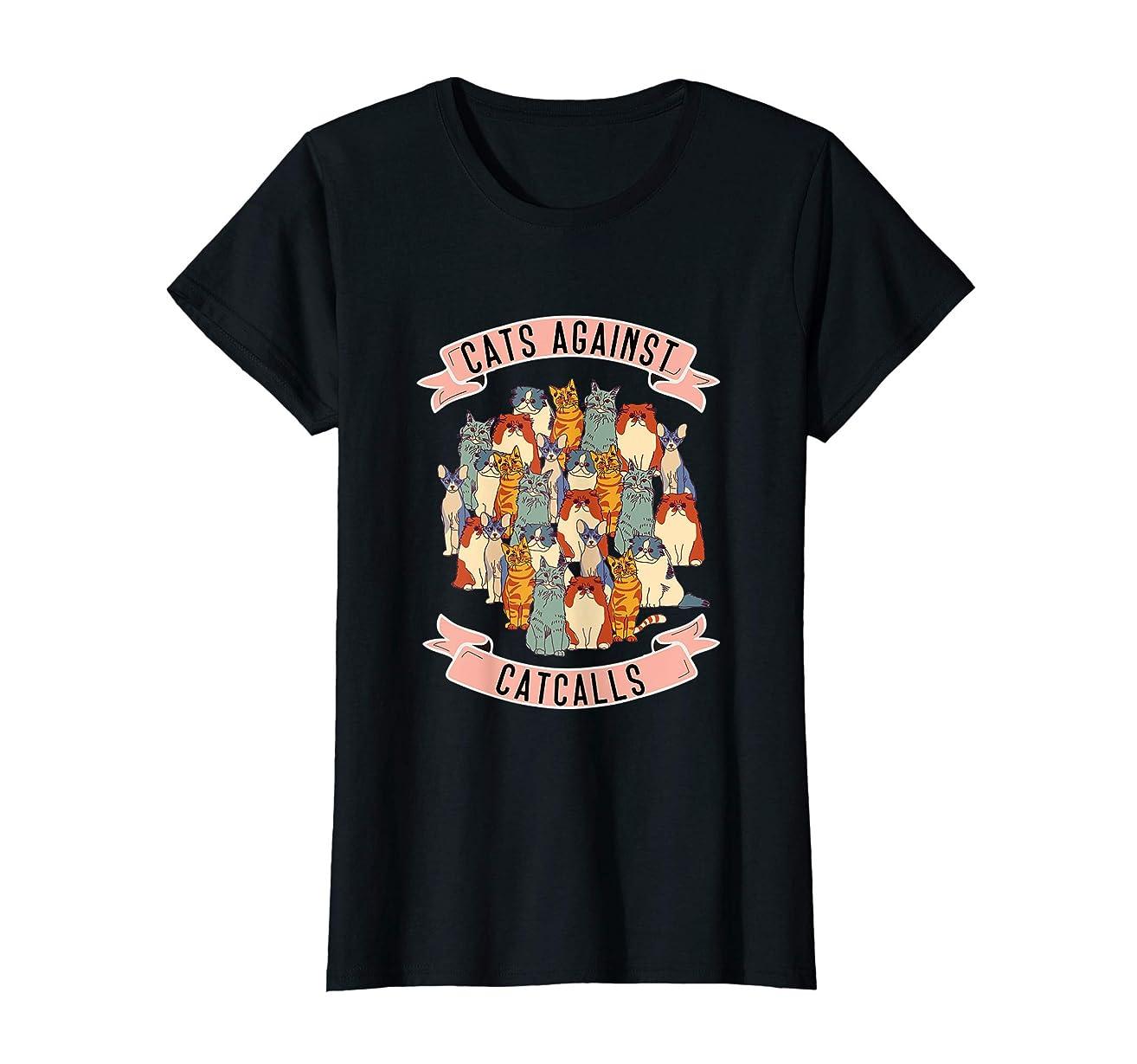 Womens Cats Against Catcalls Feminist T shirt