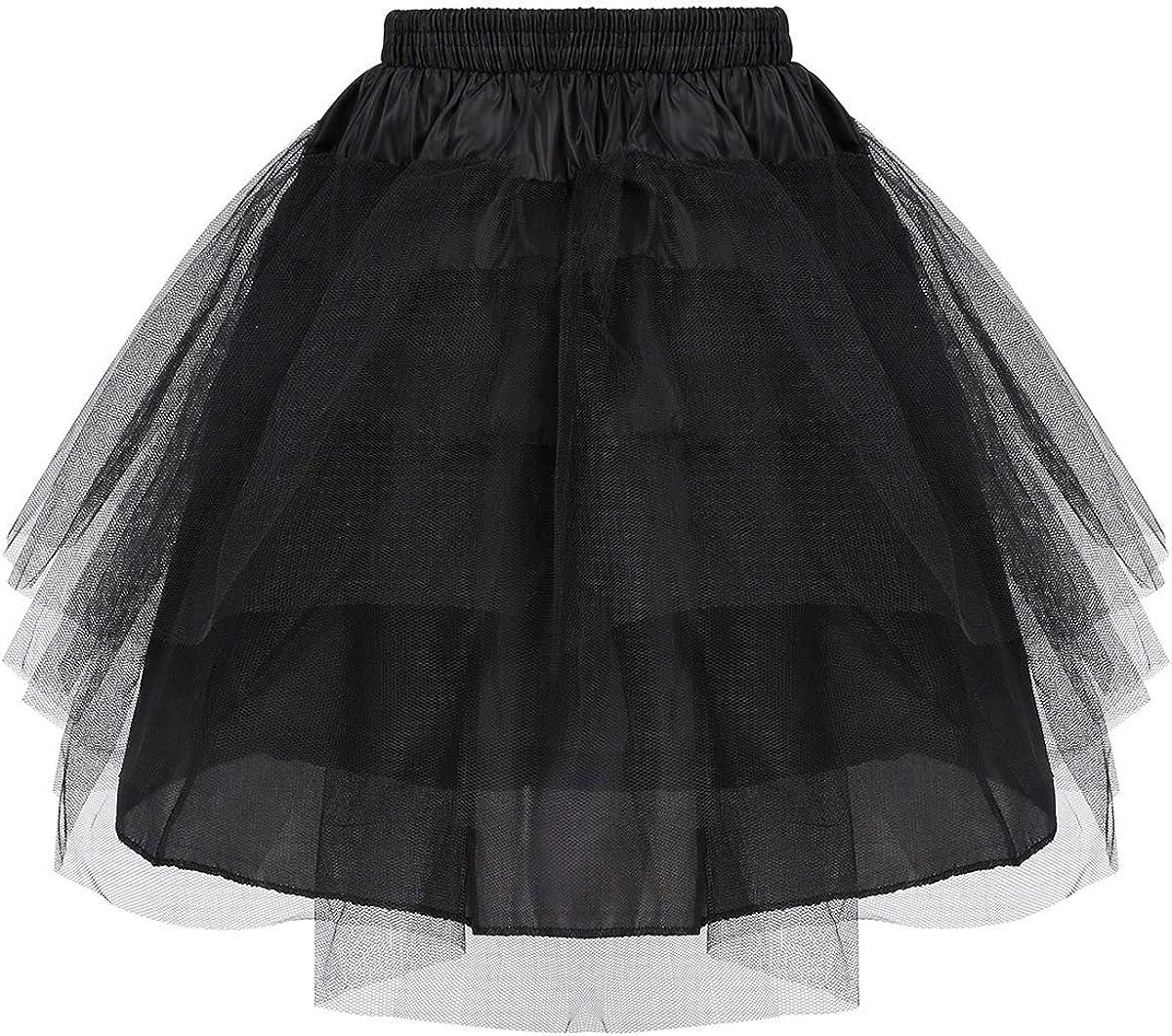 YiZYiF Girls Kids Princess Hoopless Petticoat Crinoline Flower Girl Wedding Dress Puffy 3 Layers Tutu Skirts