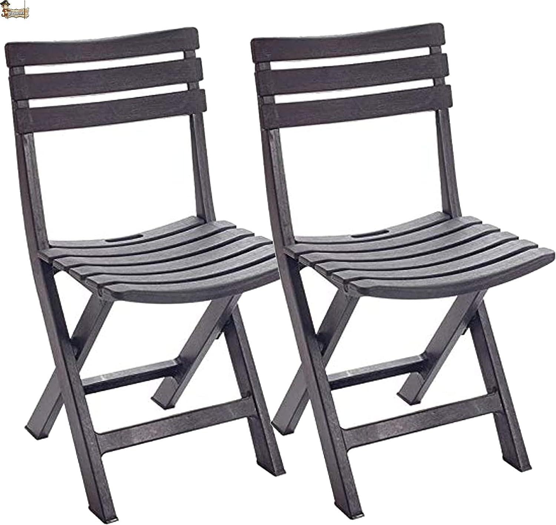 BricoLoco Silla Plegable Ligera plástico. Camping, Playa jardín, terraza, balcón. Fabricada en Resina Acabado imitación Madera. Interior y Exterior. (Antracita, 2)