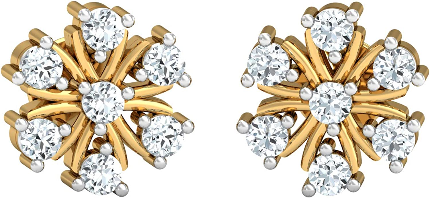 3djewels Women's 0.32 Cts Round Sim Diamond Exquisite Blooming Earring 14K Yellow gold Plated