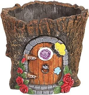 SIGNALS Fairy Door in Tree Stump Planter - Fairy Garden Tree Trunk Cement Flower Pot/Garden Planter Lawn Ornament