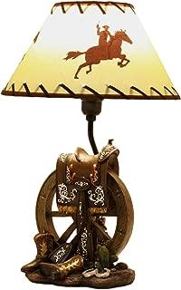 Ebros Horse Saddle Set On Vintage Wagon Wheel with Cowboy Boots Desktop Table Lamp 18.25