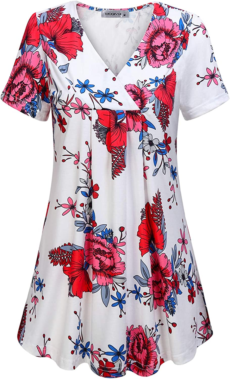 Special price for a limited time MOQIVGI Womens V Neck Printed Loose Top Blouse In stock Casual Tunic Fit
