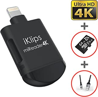 iKlips miReader MicroSD 4K Card Reader Compatible for iPhone iPad, External Memory Storage Charger, Store View Edit Record 4K Video From GoPro, Drones, Camera, 64GB micro sd card included