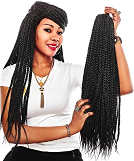 Alileader 6 Packs/Lot 22 Strands/Pack Box Braids Crochet Hair 30 Inch 1cm in Diameter 3X Synthetic Braiding Hair Extensions Crochet Braids Hair (#1B)