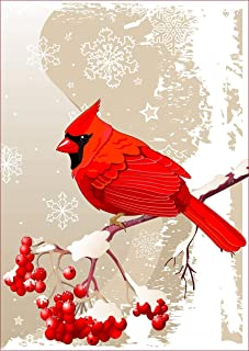uHome Red Cardinal Bird Garden Flag, Winter Snow Background, Double-Sided, Winter/Christmas Yard Flag to Bright Up Your Ga...