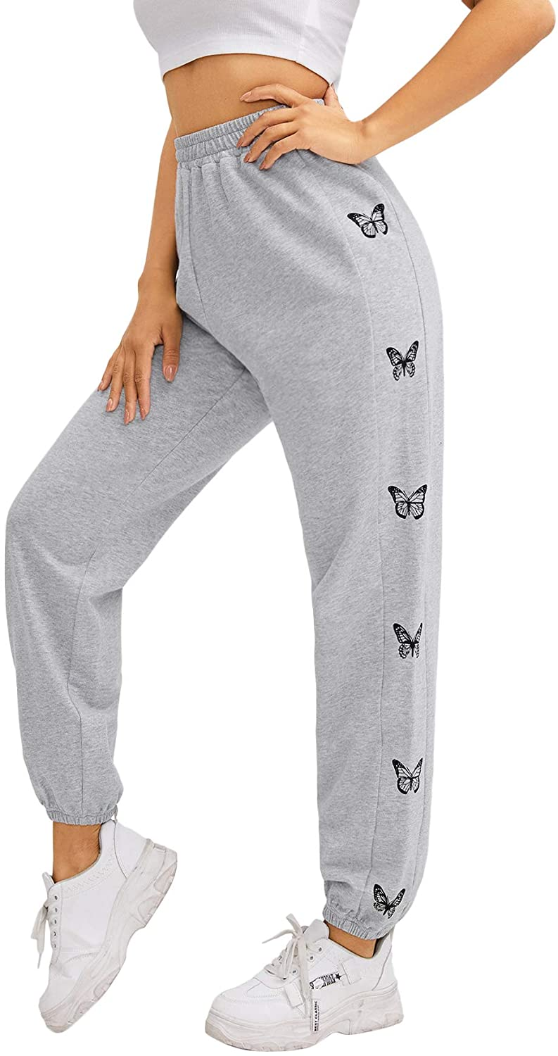 SOLY HUX Women's Butterfly Print Elastic High Waisted Sweatpants Joggers Pants