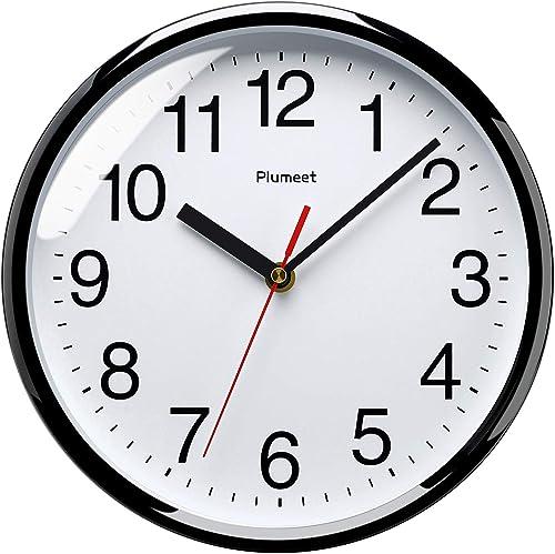 Plumeet Grande Horloge Murale, 25cm Horloge Murale Décorative de qualité, Mécanisme Silencieux à Quartz, pour Maison/...