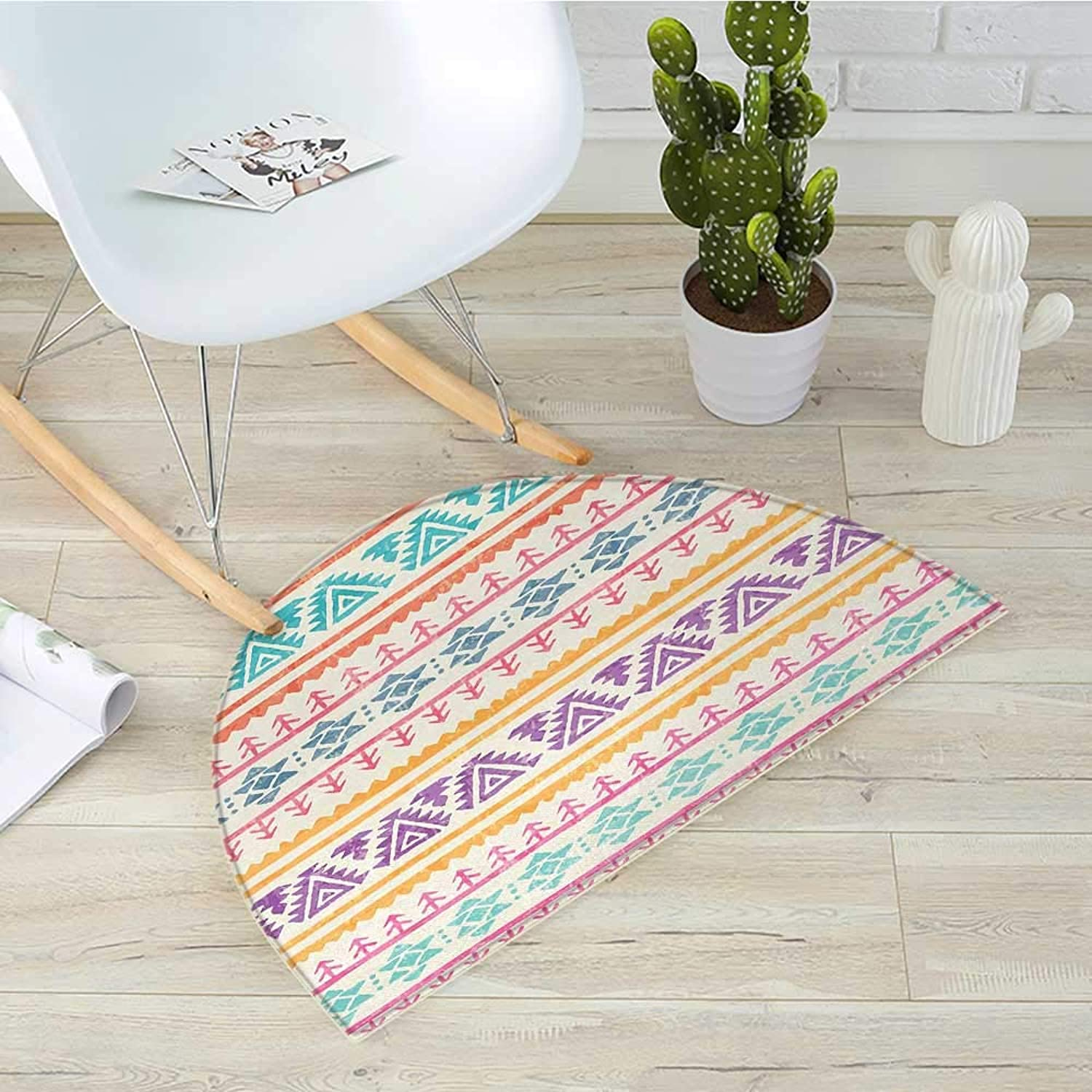 orange and Pink Semicircular CushionHand Drawn Ethnic Design with Timeless Tribal Triangle and Arrow Motifs Entry Door Mat H 35.4  xD 53.1  Multicolor