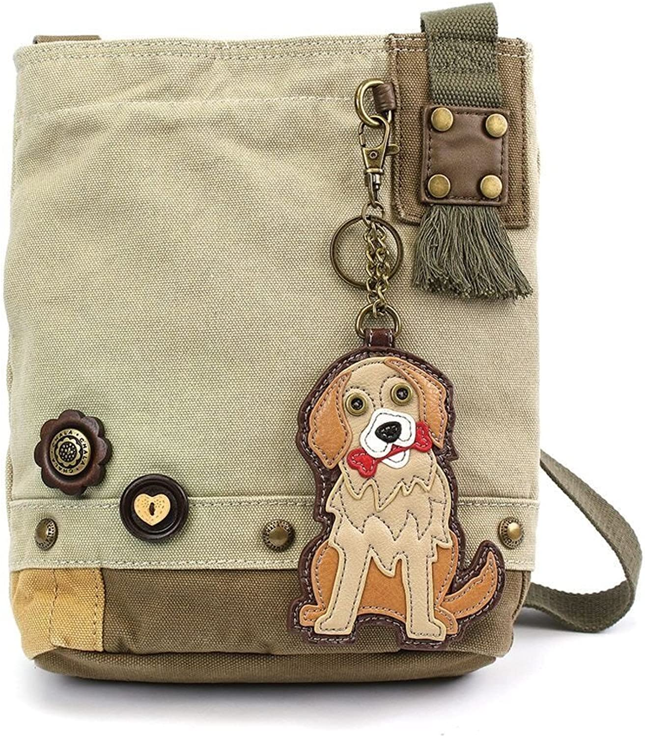 Chala Purse Handbag Sand Canvas Crossbody with Key Chain Tote Bag golden Retriever