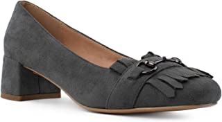 RF ROOM OF FASHION Women's Square Toe Horsebit Loafer Comfortable Low Chunky Heel Work Shoes Pumps