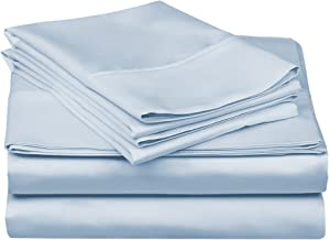 Superior 100% Premium Combed Cotton, 300 Thread Count 4-Piece Bed Sheet Set, Single Ply Cotton, Deep Pocket Fitted Sheets, Soft and Luxurious Bedding Sets - Full, Light Blue