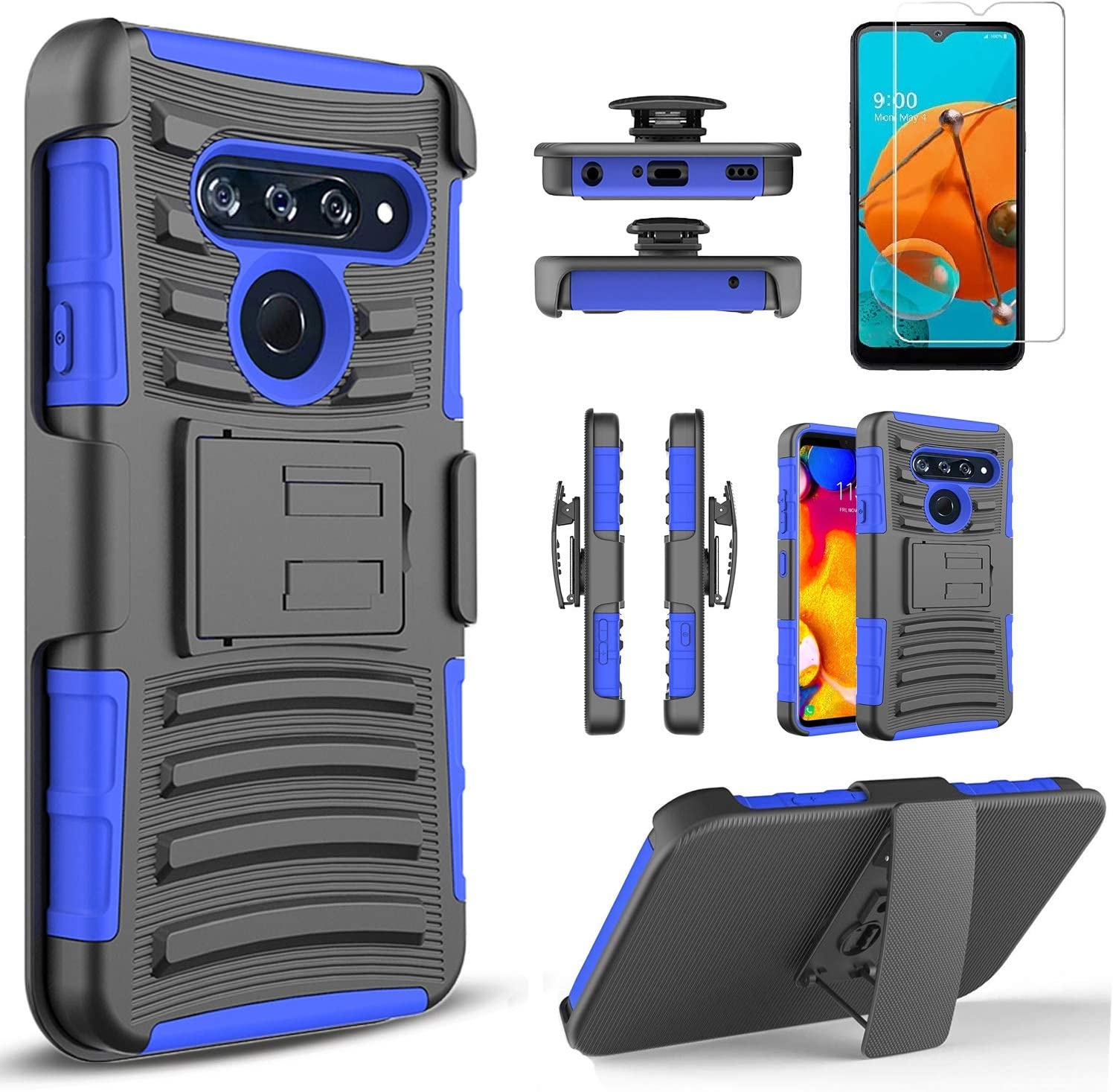 Circlemalls Compatible For LG Premier Pro Plus Case, LG Harmony 4 Case, With [Tempered Glass Screen Protector Included], Armor Heavy Duty Kickstand Cover With Belt Clip Holster - Blue