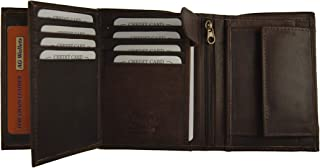 AG Wallets Men's Cowhide Leather Large European Trifold Wallet Hipster