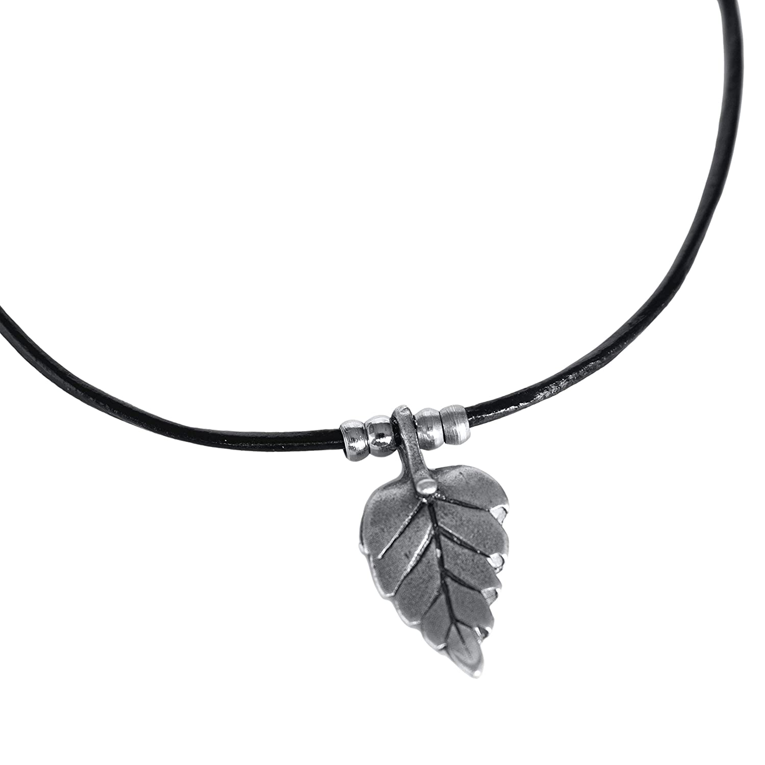 Men's Feather A surprise price is realized Max 46% OFF Choker Black Leather Penda Leaf Plated and Silver