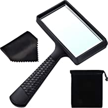 Blulu 5X Handheld Magnifier, 3.77 x 1.89 Inch Rectangular Magnifying Glass, Scratch Resistant Glass Lens for Seniors Reading, Hobbies, Repair, Observation