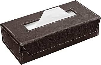 Ecoleatherette Handcrafted Eco-Friendly Napkin Box Paper Tissue Holder Box(Chocolate)