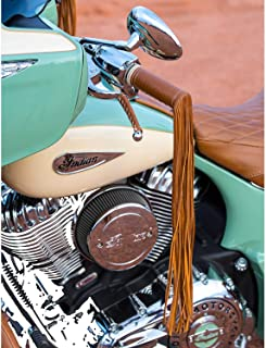 Indian Motorcycle Genuine Leather Grip Wraps with Fringe - Desert Tan