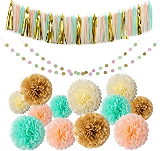 Mint Gold Glitter Peach Cream Tissue Pom Poms 54 Pcs Paper Flowers Tissue Tassel Paper Garland Kit for Baby Shower Party W...