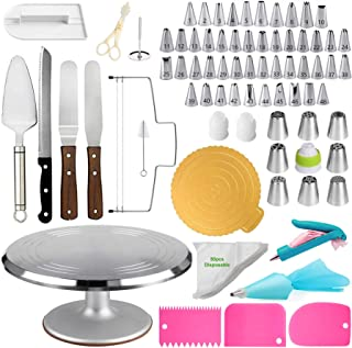 Cake Decorating Tools Kit, Aluminum Stainless Steel Turntable With 124 Pcs Of Accessories Cake Supplies, Baking Spatula, C...