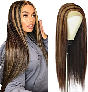 Brown Wig Lace Front Brown Wig with Highlights Straight Long Wig for Women Synthetic Wig Dark Brown Straight Hair Highligh...