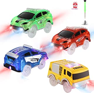Tracks Cars Replacement only, Toy Cars for Magic Tracks Glow in The Dark, Racing Car Tracks Accessories with 5 Flashing LED Lights, Compatible with Most Car Tracks for Kids Boys and Girls(4pack)
