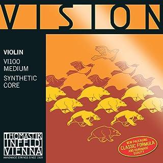 Thomastik corde per violino Vision Synthetic Core Medium Pallino rimovibile;Mi acciaio zincato. Pallino. 4/4;