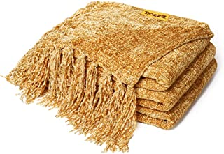 DOZZZ Fluffy Chenille Knitted Throw Blanket with Decorative Fringe for Home Décor Bed..